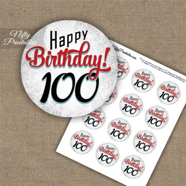 100th Birthday Cupcake Toppers - Retro White Red