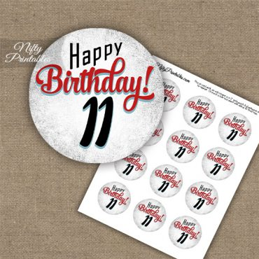 11th Birthday Cupcake Toppers - Retro White Red
