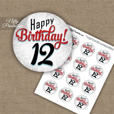 12th Birthday Cupcake Toppers - Retro White Red