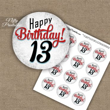 13th Birthday Cupcake Toppers - Retro White Red