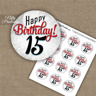 15th Birthday Cupcake Toppers - Retro White Red