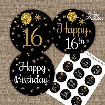 16th Birthday Cupcake Toppers - Balloons Black Gold