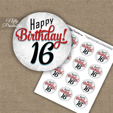 16th Birthday Cupcake Toppers - Retro White Red
