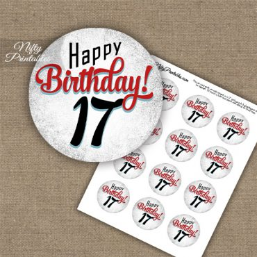 17th Birthday Cupcake Toppers - Retro White Red