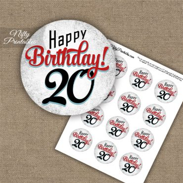 20th Birthday Cupcake Toppers - Retro White Red