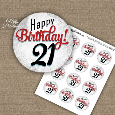 21st Birthday Cupcake Toppers - Retro White Red