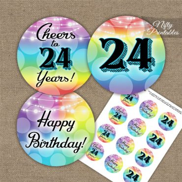 24th Birthday Cupcake Toppers - Rainbow LGBTQ