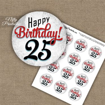 25th Birthday Cupcake Toppers - Retro White Red