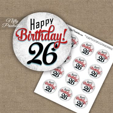 26th Birthday Cupcake Toppers - Retro White Red