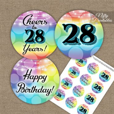 28th Birthday Cupcake Toppers - Rainbow LGBTQ