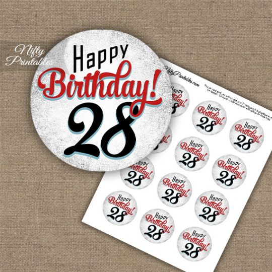 28th Birthday Cupcake Toppers - Retro White Red