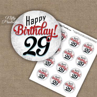 29th Birthday Cupcake Toppers - Retro White Red