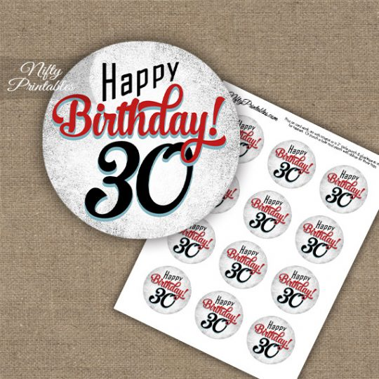 30th Birthday Cupcake Toppers - Retro White Red