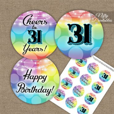 31st Birthday Cupcake Toppers - Rainbow LGBTQ