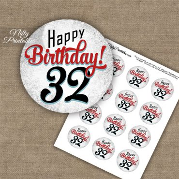 32nd Birthday Cupcake Toppers - Retro White Red