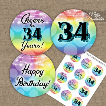34th Birthday Cupcake Toppers - Rainbow LGBTQ