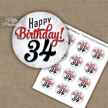 34th Birthday Cupcake Toppers - Retro White Red
