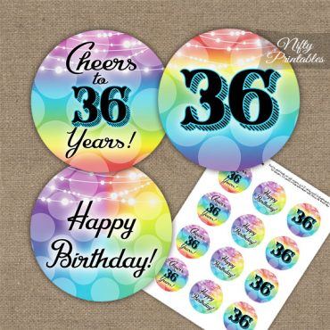 36th Birthday Cupcake Toppers - Rainbow LGBTQ