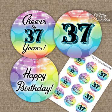 37th Birthday Cupcake Toppers - Rainbow LGBTQ