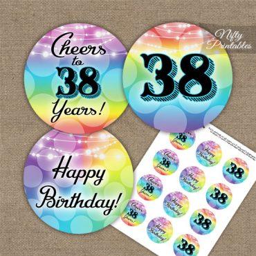 38th Birthday Cupcake Toppers - Rainbow LGBTQ