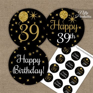 39th Birthday Cupcake Toppers - Balloons Black Gold