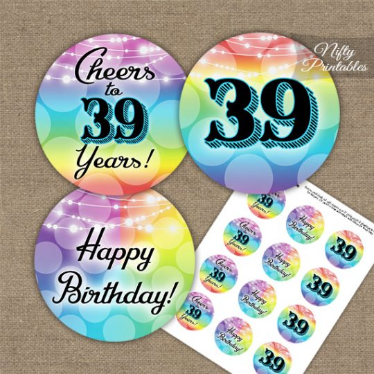 39th Birthday Cupcake Toppers - Rainbow LGBTQ
