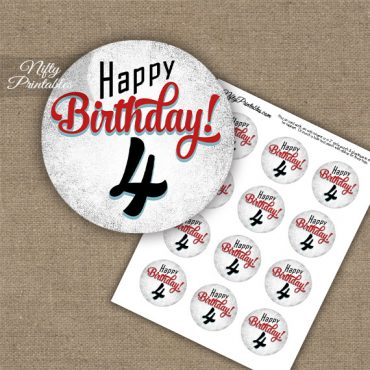 4th Birthday Cupcake Toppers - Retro White Red