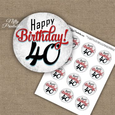 40th Birthday Cupcake Toppers - Retro White Red