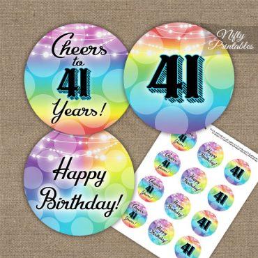 41st Birthday Cupcake Toppers - Rainbow LGBTQ
