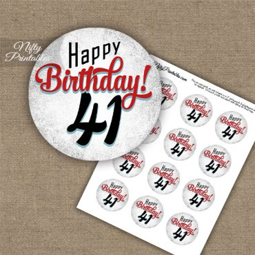 41st Birthday Cupcake Toppers - Retro White Red