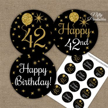 42nd Birthday Cupcake Toppers - Balloons Black Gold