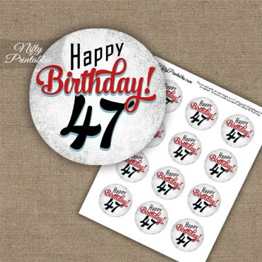 47th Birthday Cupcake Toppers - Retro White Red
