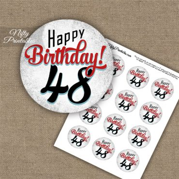 48th Birthday Cupcake Toppers - Retro White Red