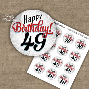 49th Birthday Cupcake Toppers - Retro White Red