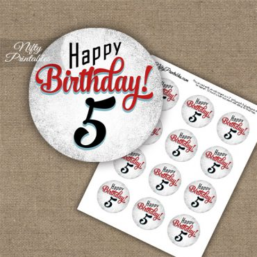 5th Birthday Cupcake Toppers - Retro White Red
