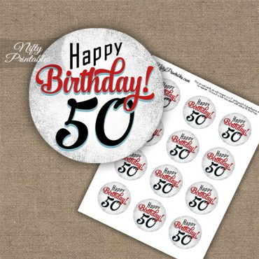 50th Birthday Cupcake Toppers - Retro White Red