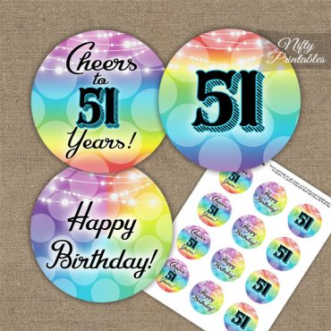 51st Birthday Cupcake Toppers - Rainbow LGBTQ