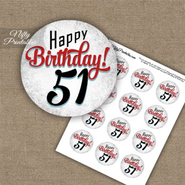51st Birthday Cupcake Toppers - Retro White Red