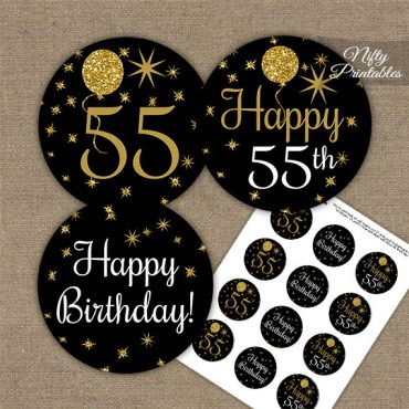 55th Birthday Cupcake Toppers - Balloons Black Gold