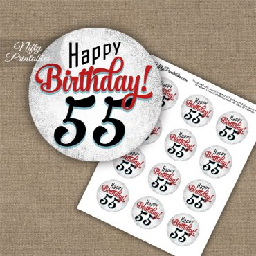 55th Birthday Cupcake Toppers - Retro White Red