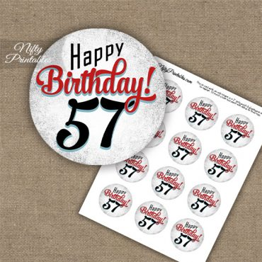 57th Birthday Cupcake Toppers - Retro White Red