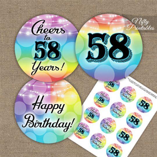 58th Birthday Cupcake Toppers - Rainbow LGBTQ