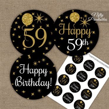 59th Birthday Cupcake Toppers - Balloons Black Gold