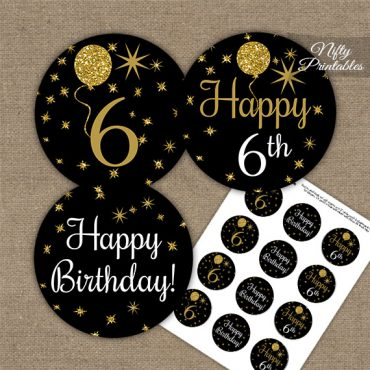 6th Birthday Cupcake Toppers - Balloons Black Gold