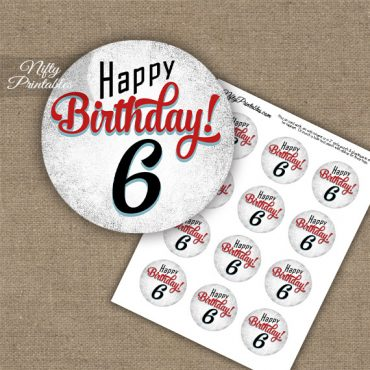 6th Birthday Cupcake Toppers - Retro White Red