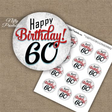 60th Birthday Cupcake Toppers - Retro White Red