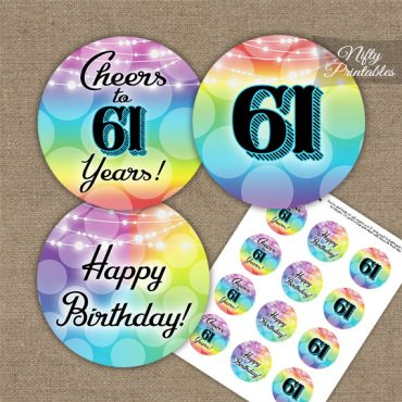 61st Birthday Cupcake Toppers - Rainbow LGBTQ