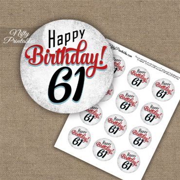 61st Birthday Cupcake Toppers - Retro White Red