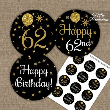 62nd Birthday Cupcake Toppers - Balloons Black Gold