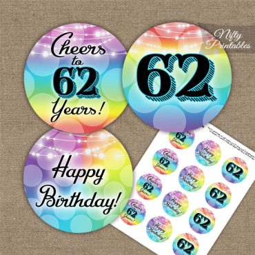62nd Birthday Cupcake Toppers - Rainbow LGBTQ